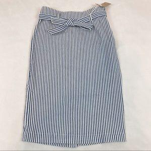 J Crew striped denim pencil skirt tie waist